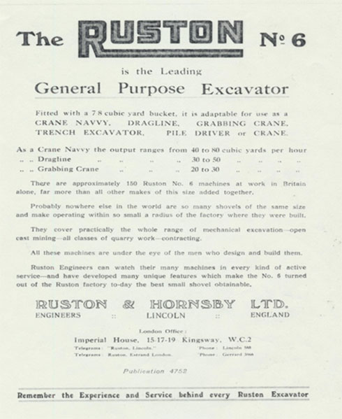 Advertisement for the Ruston No.6