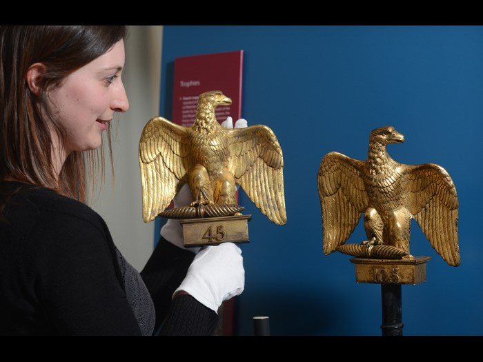 Adrienne Breingan, Assistant Curator, National Museums Scotland installing Ewart's Eagle in the display.