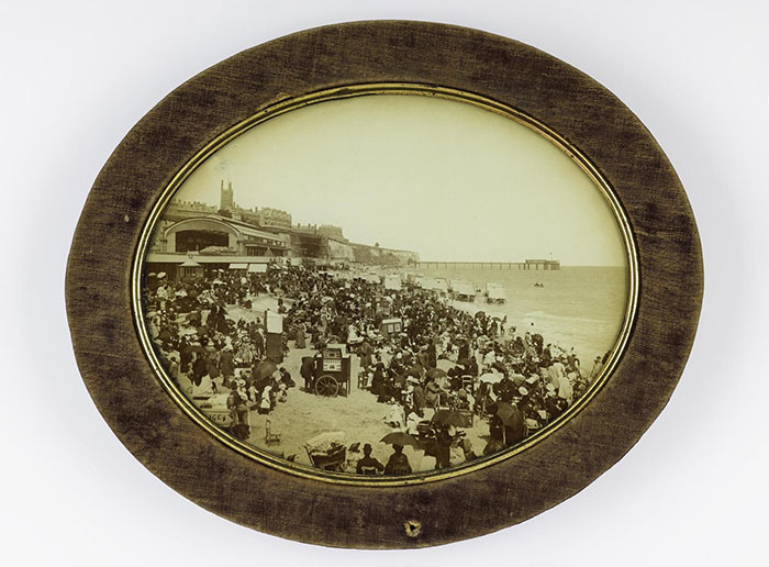 Tintype showing beach photographers