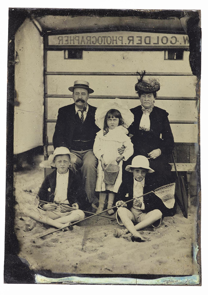 Tintype showing a family at the beach