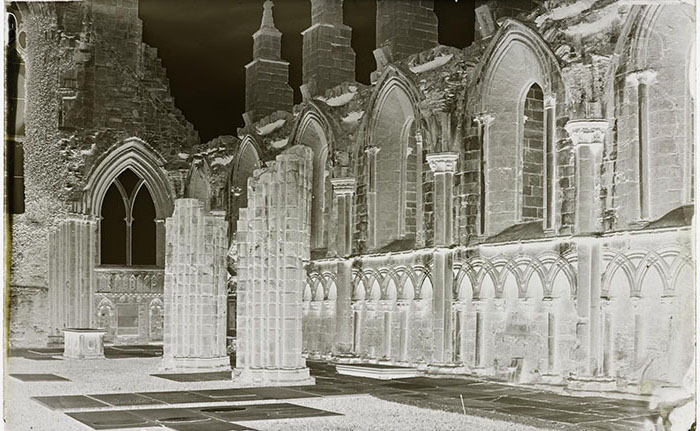 Wet collodion negative of a ruined abbey