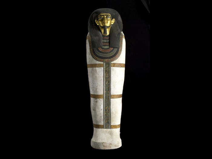 Coffin of the estate overseer Khnumhotep, son of Nebtu, made of wood painted white with three horizontal yellow mummy bands and the face gilded: Ancient Egyptian, from Deir Rifeh, Middle Kingdom, second half of the 12th Dynasty, c.1940-1760 BC.