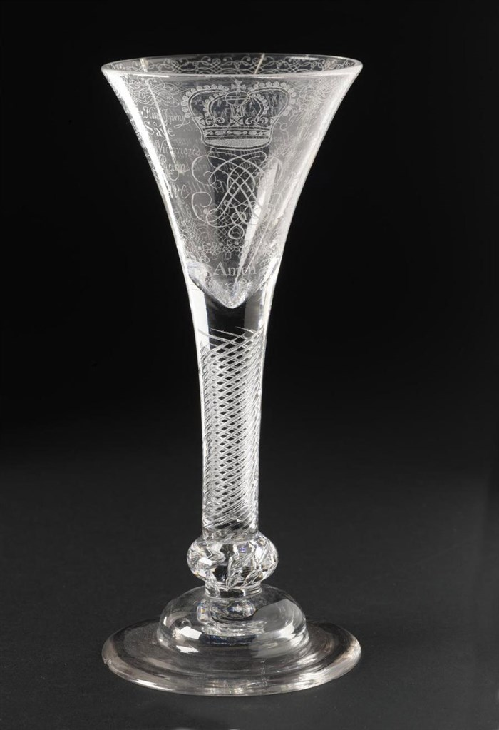 Wine glass engraved with Jacobite texts