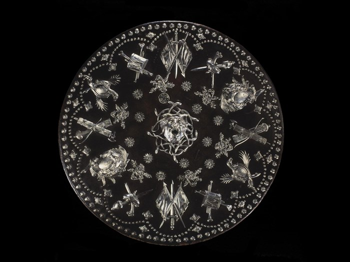 This targe, or shield, was presented to Prince Charles before Culloden, but abandoned when the Prince fled the field after the Jacobites were defeated.