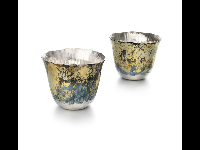 'Tectonic beakers I and II', 2014, Malcolm Appleby and Jane Short. Measurements: Height 7.2cm Width 8.5cm. Image © The Goldsmiths' Company. Courtesy 'Collection: The Worshipful Company of Goldsmiths'.'