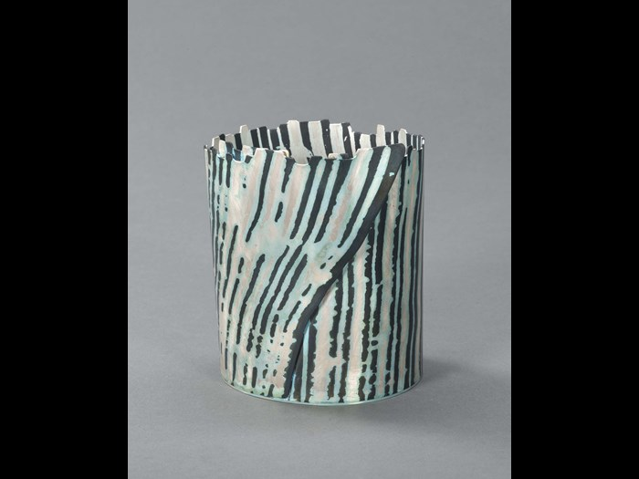 'Wrapped Birch' vessel, 2011, Hazel Thorn. Measurements: Height 10.8cm Width 8.5cm. Image © The Goldsmiths' Company Courtesy. 'Collection: The Worshipful Company of Goldsmiths'.'