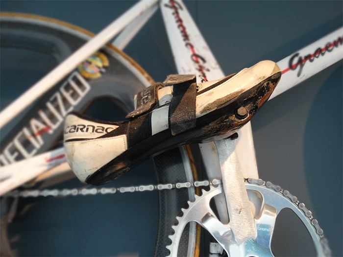 Detail of Graeme Obree's bicycle Old Faithful showing the pedals