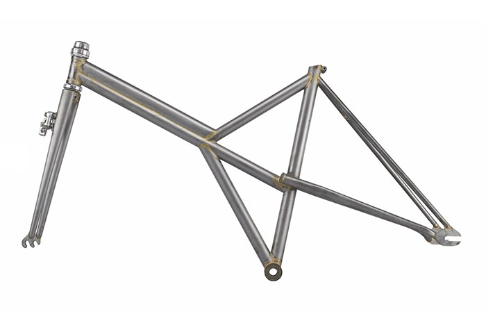 Graeme Obree's prototype bicycle frame: a brazed tubular frame with Compagnolo rear drop outs, Allez front and DiaCompe brakes, 1992.