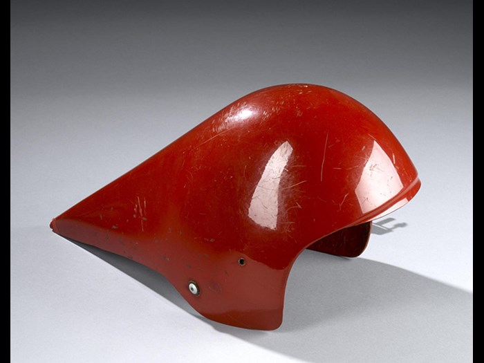 Racing helmet cowl for cycling, used by Graeme Obree during his successful World Hour Record in 1993.