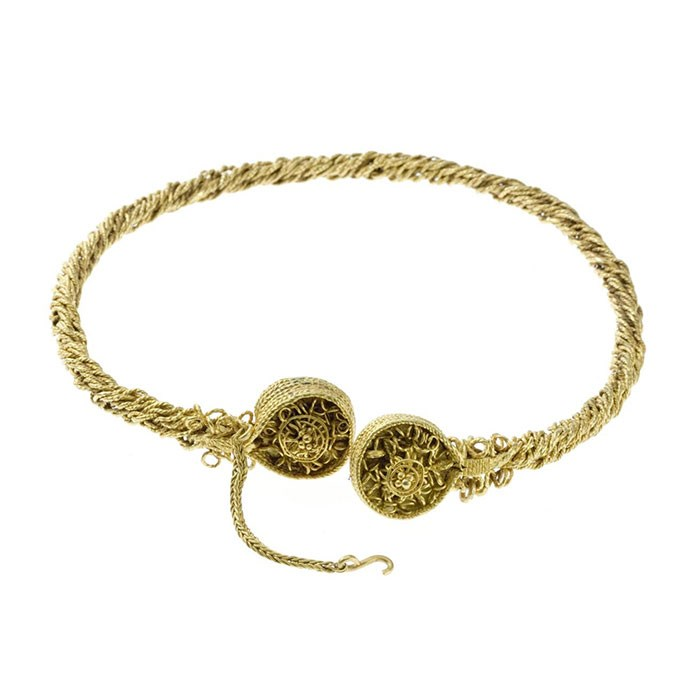 Iron Age gold torc, found in Blair Drummond as part of a hoard comprising four torcs.