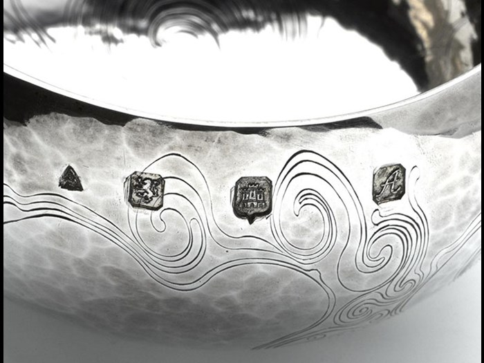 Hallmarks on a silver bowl engraved by Malcolm Appleby.