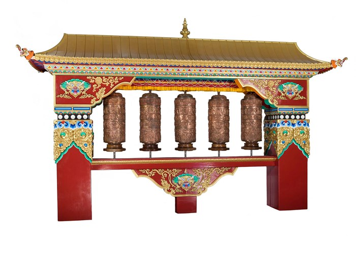 Tibetan prayer wheel house