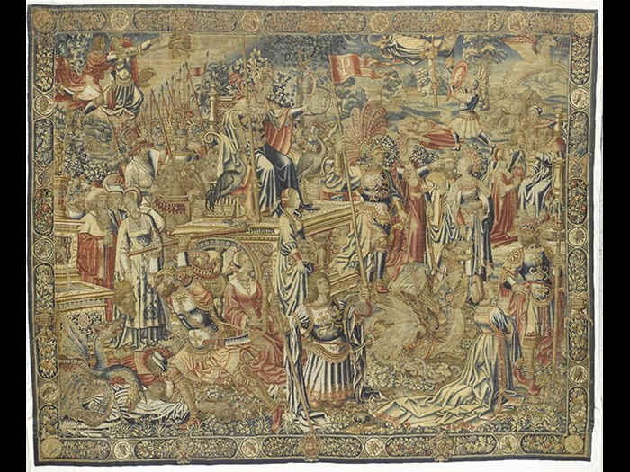 This luxurious 16th-century tapestry belongs to a Flemish set known as The Triumph of the Seven Virtues. You can find it in the Art of Living gallery.
