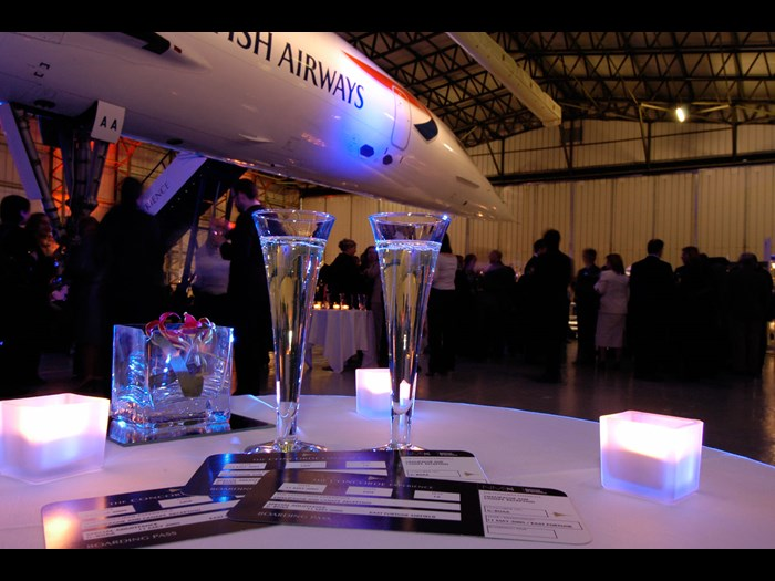 Drinks reception in the Concorde hangar