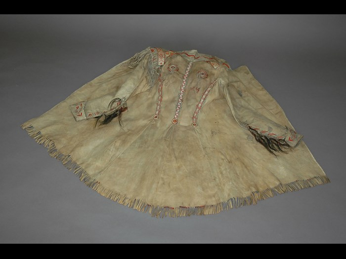 Tailored moose skin coat with multi-coloured geometric and floral quillwork presented by Captain Hampden Clement Blamire Moody who served in Canada from 1840-1848, mainly at Fort Garry (Winnipeg), the Hudson's Bay Company trading post. © Royal Engineers Museum, Library and Archive.