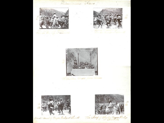 Original caption of central image: 'Thibetan curios from Lhassa' from 1st Battalion Royal Irish Rifles regimental album 'Views from Thibet'. 1904 © Royal Ulster Rifles Museum.