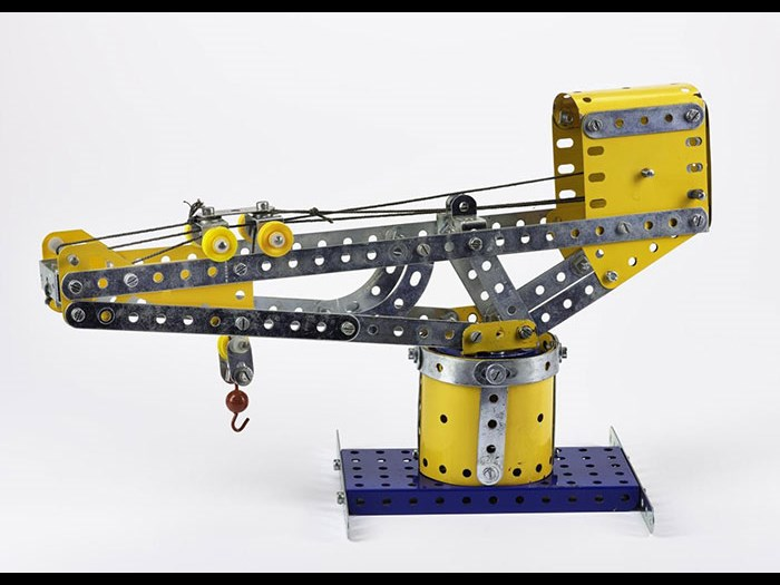 Model of a cantilever crane, made from Meccano, plastic, metal and string by Albert M.J. Hutchings, Dalkeith, 2012.
