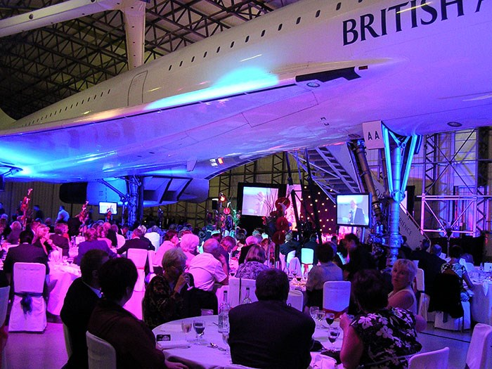Dinner in the Concorde hangar