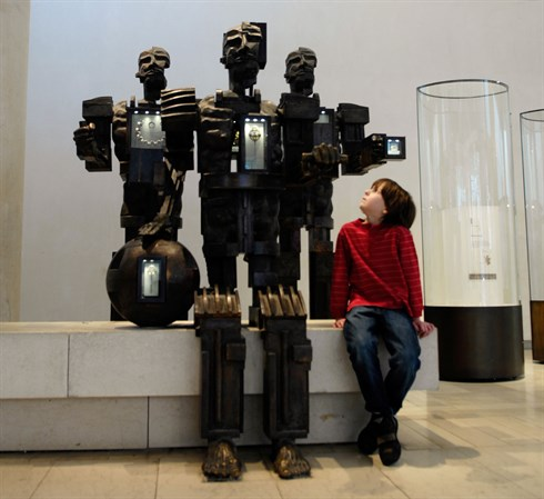 Sculptures by Paolozzi in the Early People gallery