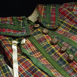 Tartan coat from a Royal Company of Archers uniform, of hard twill weave wool with wooden buttons, silk fringing and linen lining: c. 1750