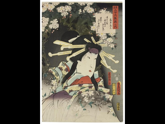 Colour woodblock print, depicting the Kabuki actor Segawa Roko III as the ghost of the courtesan Sumizome-sakura, in the play 'The Snowbound Barrier (Tsumoru koi yuki no seki no to)', from the print series 'Parallels for the 36 Immortal Poets (Mitate sanjurokkasen no uchi)'; by Utagawa Kunisada, 1852.